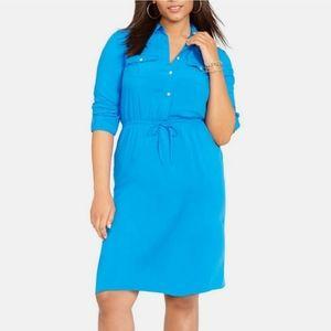 Ralph Lauren Blouson Shirt Dress Blue Drawstring